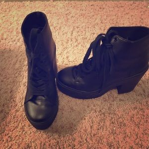 Forever21 lace up booties